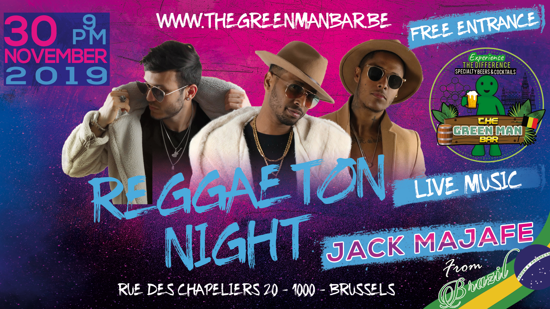 Reggaeton DANCE NIGHT with Jack Majafe next to the Grand Place – Saturday 30 November 9PM