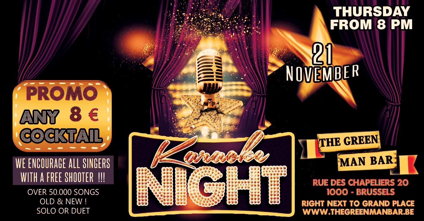 Karaoke Party next to the Grand Place ! Free shooter for singers – Thursday 21 November 8 PM