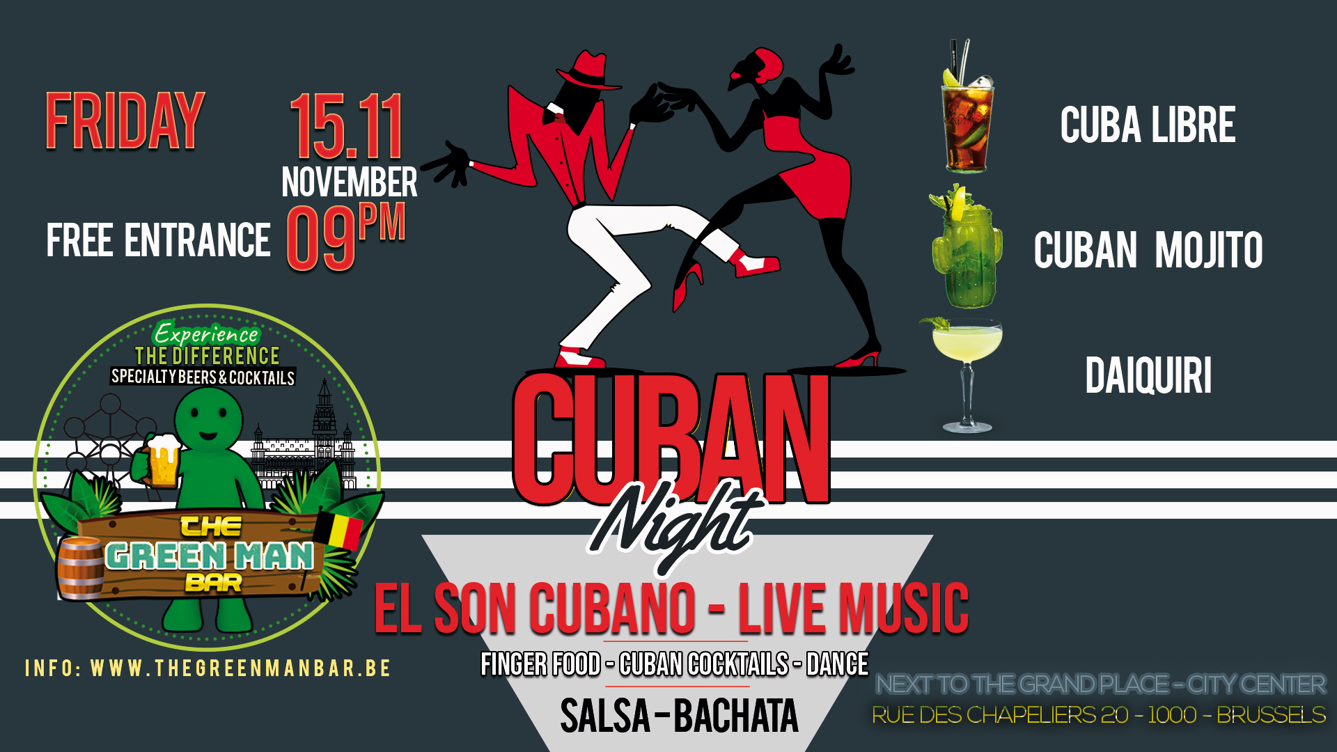 El Son Cubano – Cuban Live Music night next to the Grand Place – Friday 15th November 9PM