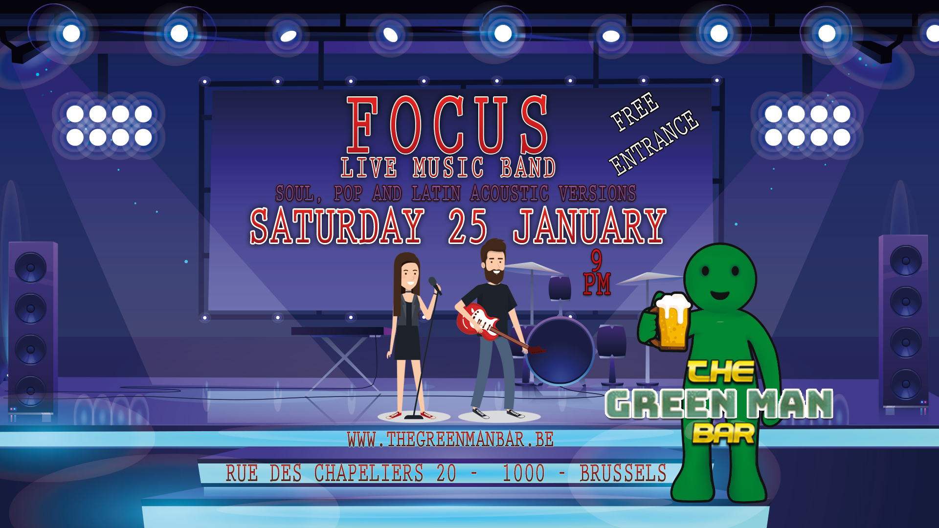 FOCUS live band in the heart of Brussels – Saturday 25 January – 9PM
