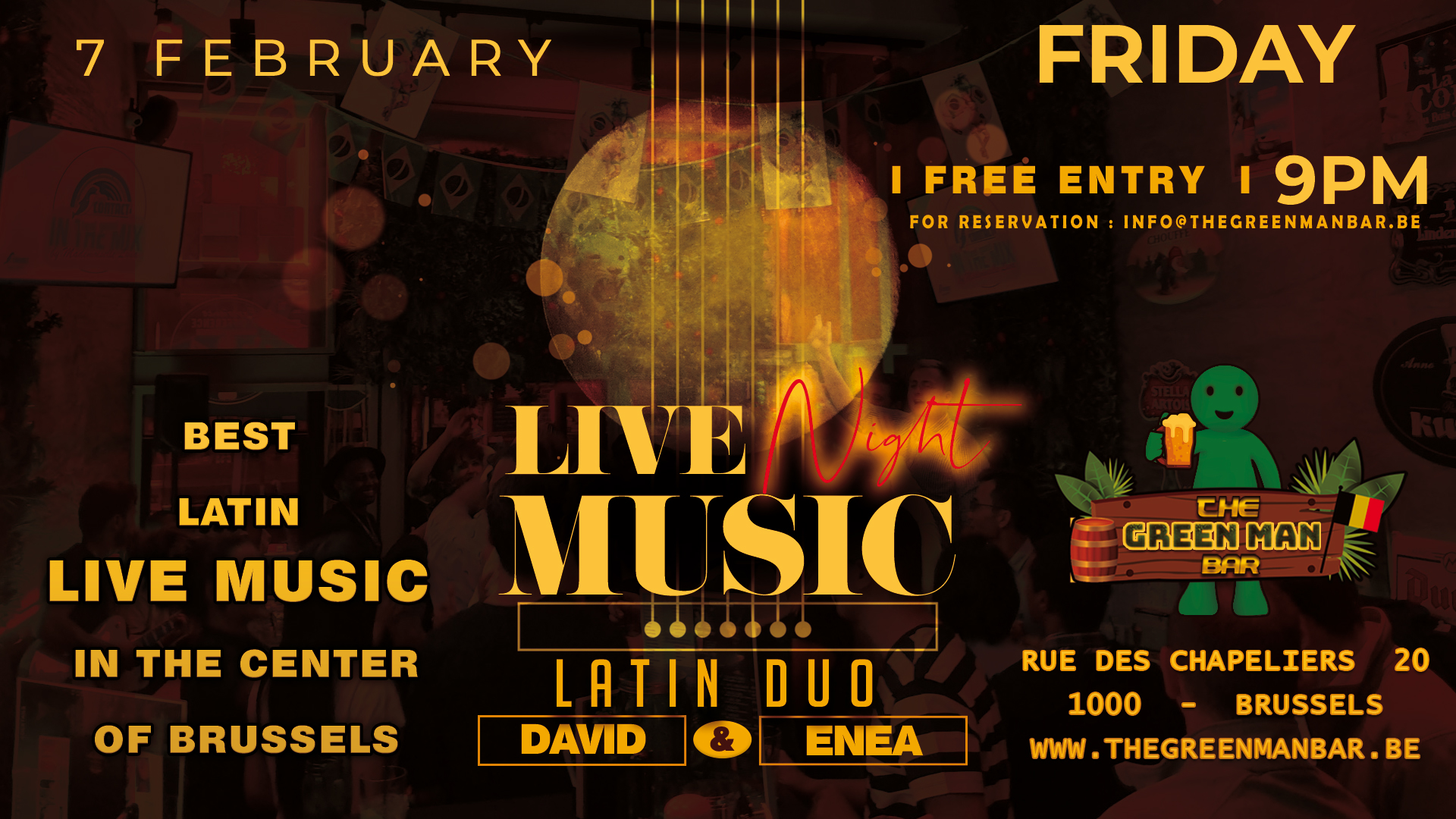 LATIN DUO (David & Enea) live near the Grand Place – Friday 7 February – 9PM