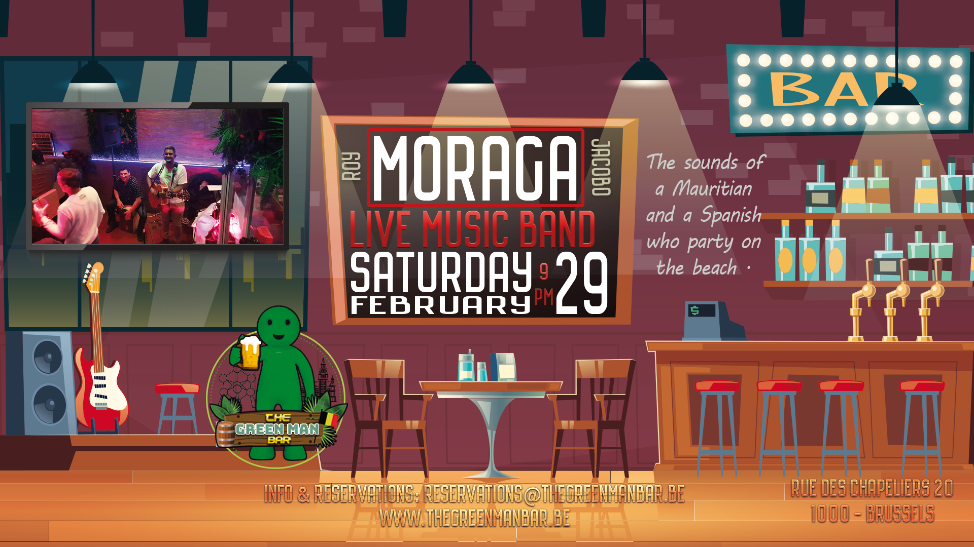 Guest Live Band: Moraga next to Grand Place Brussels Free entry